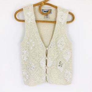 Vintage Marie Y. Beaded Vest with Floral Pattern M